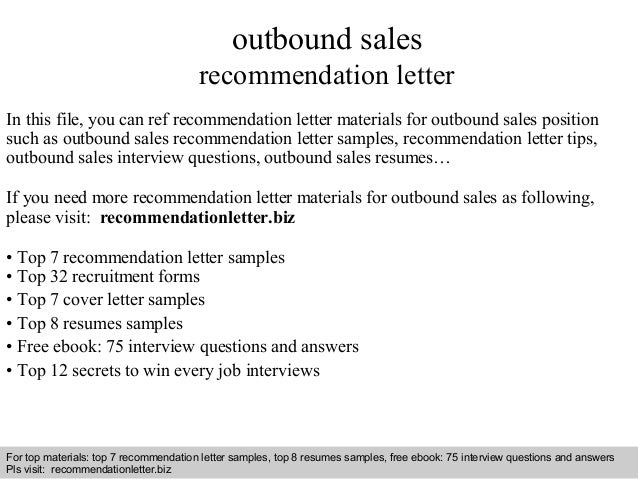 Interview Questions And Answers U2013 Free Download/ Pdf And Ppt File Outbound  Sales Recommendation Letter ...