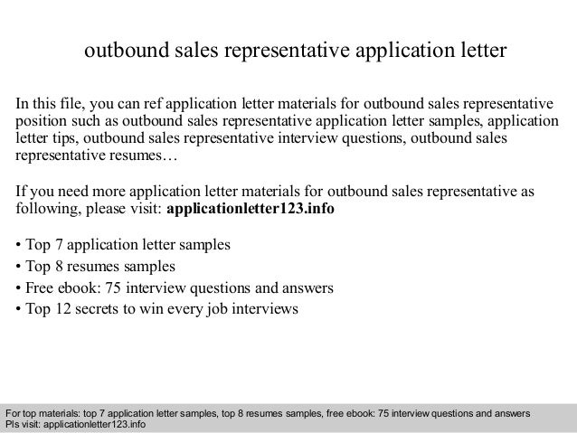Outbound Sales Representative Application Letter In This File, You Can Ref  Application Letter Materials For