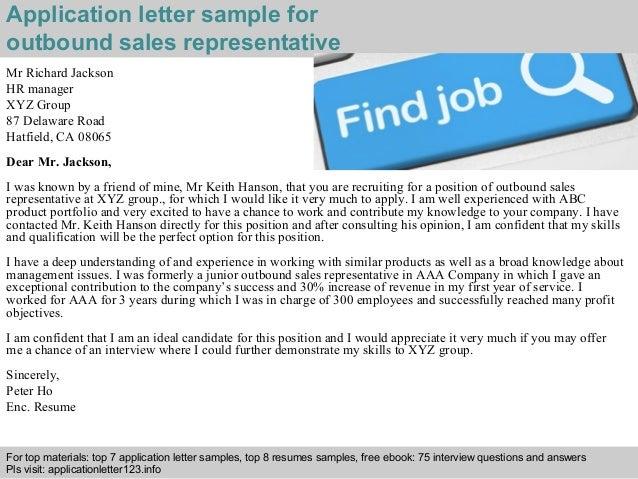 Outbound sales representative application letter