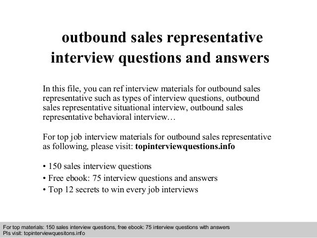 sales representative interview questions - Yeni.mescale.co