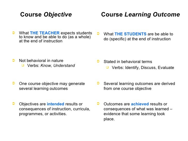 difference between learning outcomes and learning Learning taxonomies and a list of useful verbs to design learning outcomes    what is the difference between aims, learning objectives and learning outcomes .