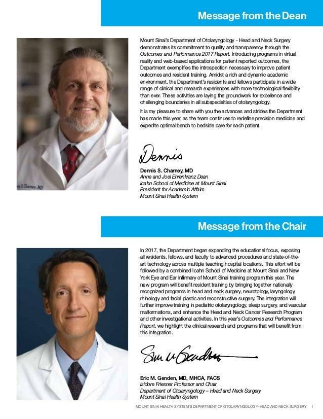 Mount Sinai's Otolaryngology Outcomes and Performance Report