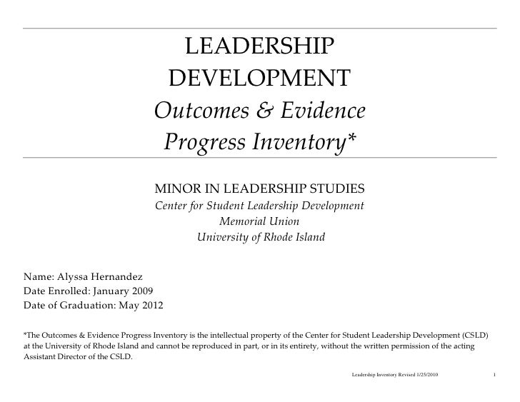 LEADERSHIP                                     DEVELOPMENT                                    Outcomes & Evidence         ...