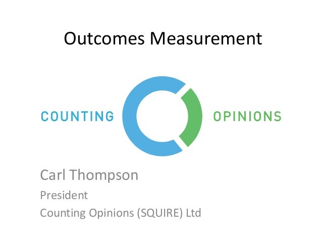 Outcomes Measurement Carl Thompson President Counting Opinions (SQUIRE) Ltd