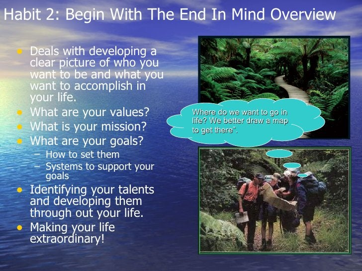 Habit 2: Begin With The End In Mind Overview <ul><li>Deals with developing a clear picture of who you want to be and what ...