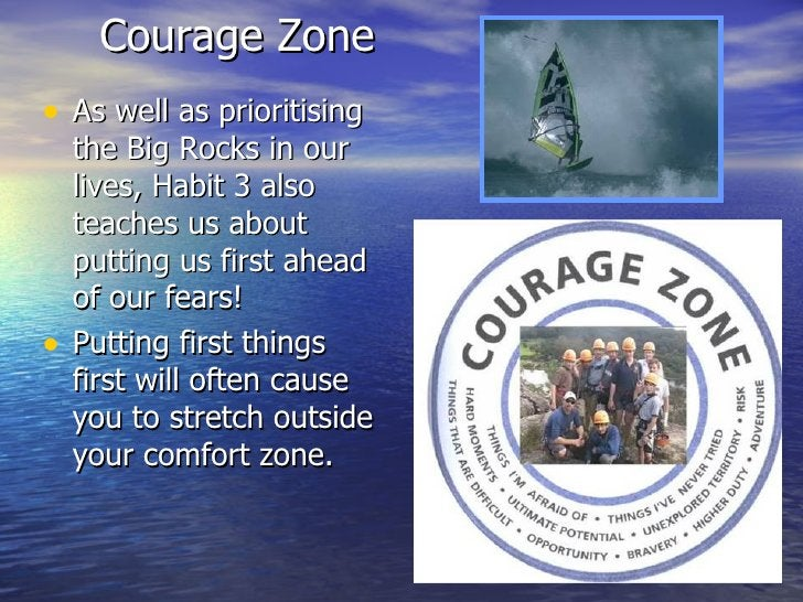 Courage Zone <ul><li>As well as prioritising the Big Rocks in our lives, Habit 3 also teaches us about putting us first ah...