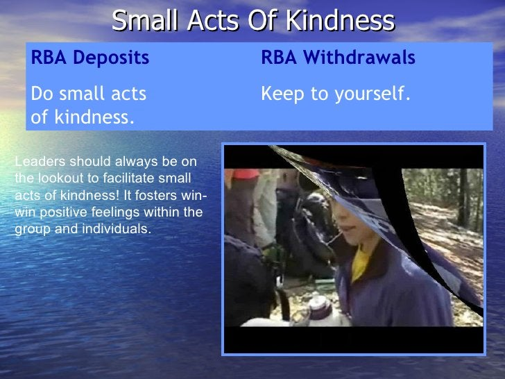 Small Acts Of Kindness RBA Deposits RBA Withdrawals Do small acts  Keep to yourself. of kindness. Leaders should always be...