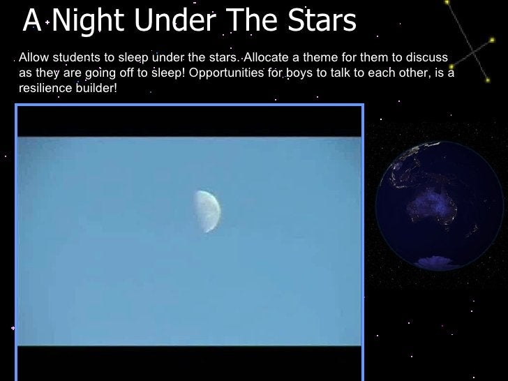 A Night Under The Stars  Allow students to sleep under the stars. Allocate a theme for them to discuss as they are going o...