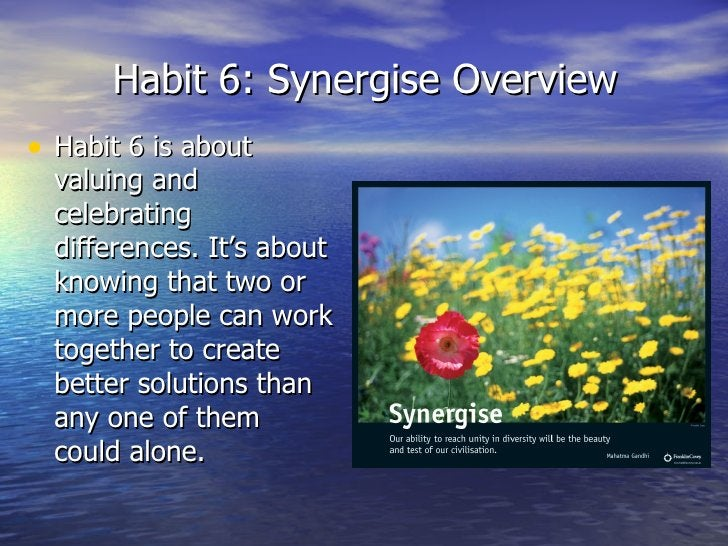 Habit 6: Synergise Overview <ul><li>Habit 6 is about valuing and celebrating differences. It's about knowing that two or m...