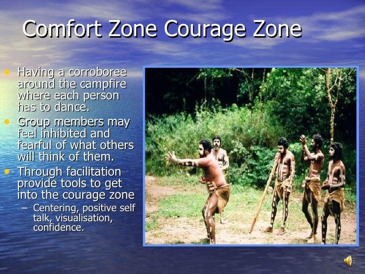 Comfort Zone Courage Zone <ul><li>Having a corroboree around the campfire where each person has to dance.  </li></ul><ul><...