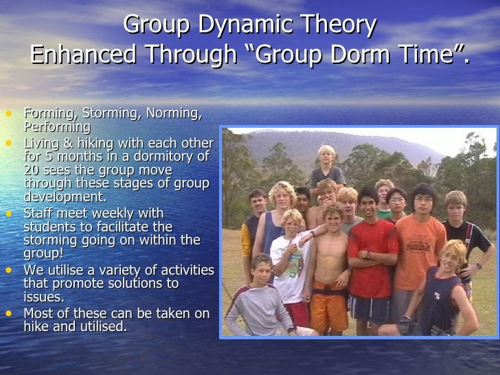 "Group Dynamic Theory Enhanced Through ""Group Dorm Time"". <ul><li>Forming, Storming, Norming, Performing </li></ul><ul><li>..."