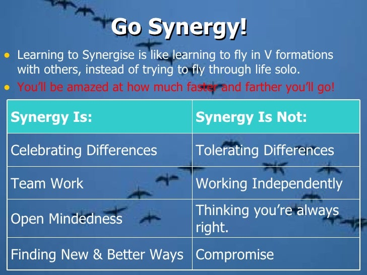 <ul><li>Learning to Synergise is like learning to fly in V formations with others, instead of trying to fly through life s...