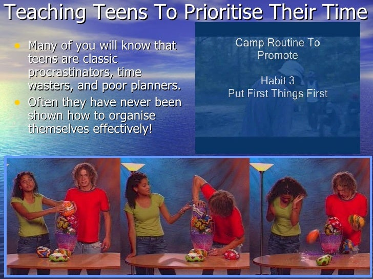 Teaching Teens To Prioritise Their Time <ul><li>Many of you will know that teens are classic procrastinators, time wasters...