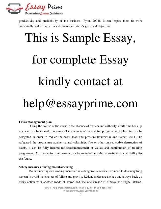 Outdoor Adventure & Sports Essay Sample