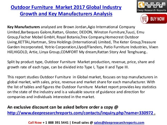 Global Outdoor Furniture Industry Trends, Demand And Growth Overview 2017