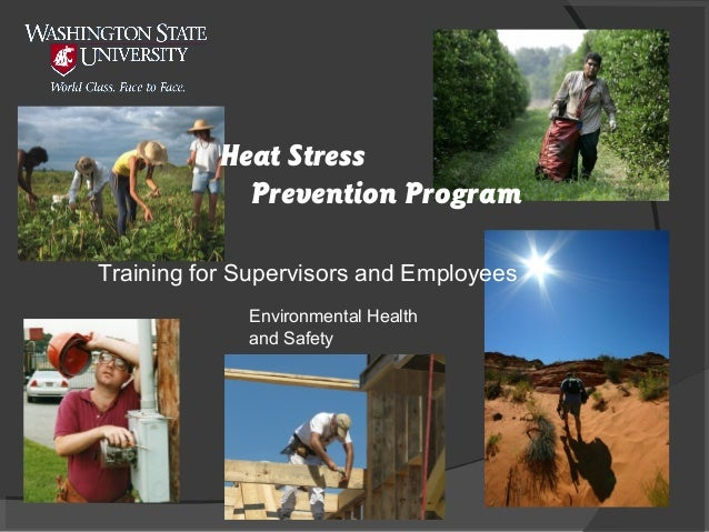 Heat Stress Prevention Program Training for Supervisors and Employees Environmental Health and Safety