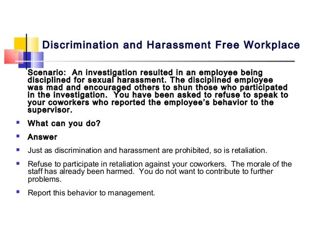 Sexual harassment employee training scenarios