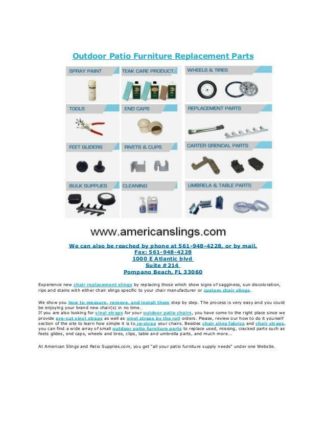 outdoor patio furniture replacement parts rh slideshare net Replacement Foot Glides Patio Furniture Walmart Patio Furniture Replacement Parts