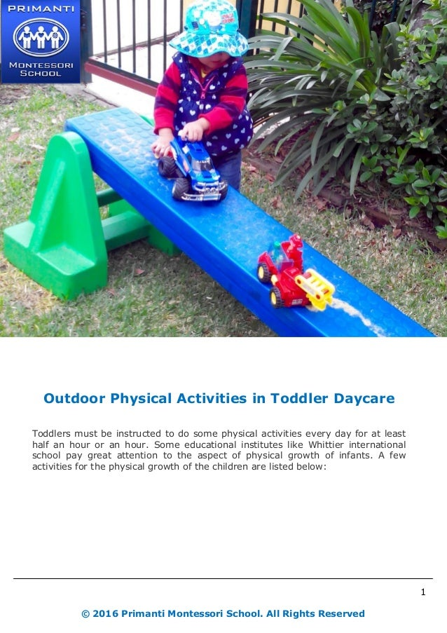 Outdoor Physical Activities In Toddler Daycare