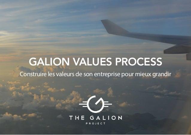 GALION VALUES PROCESS Construire les valeurs de son entreprise pour mieux grandir