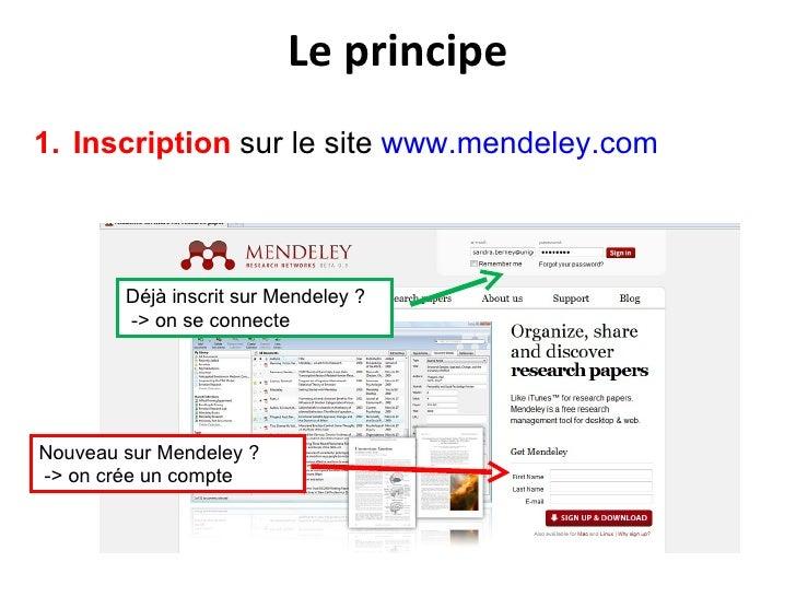 Le principe <ul><li>Inscription  sur le site  www.mendeley.com </li></ul>Nouveau sur Mendeley ? -> on crée un compte  Déjà...