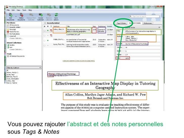 Vous pouvez rajouter  l'abstract et des notes personnelles  sous  Tags & Notes