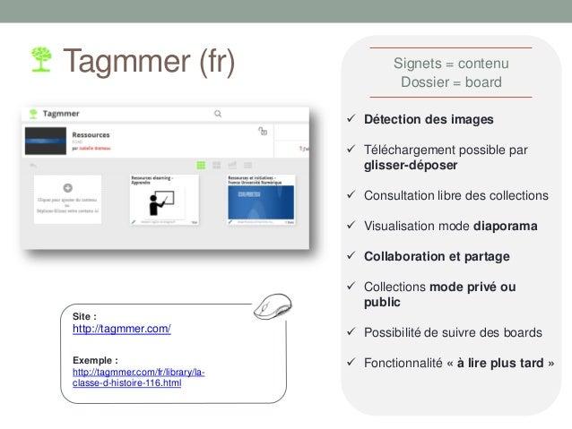 Tagmmer (fr) Site : http://tagmmer.com/  Détection des images  Téléchargement possible par glisser-déposer  Consultatio...