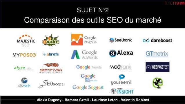 SUJET N°2 Comparaison des outils SEO du marché Alexia Dugeny - Barbara Czmil - Lauriane Leton - Valentin Robinet