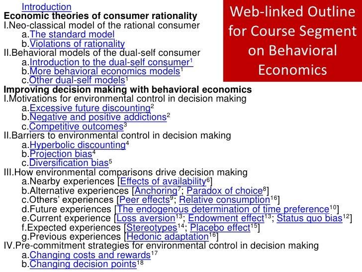 Outline for Behavioral Economics Course Component