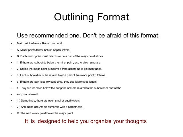 Rules in writing an outline