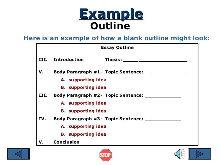 example outline - Outline Of Essay Example
