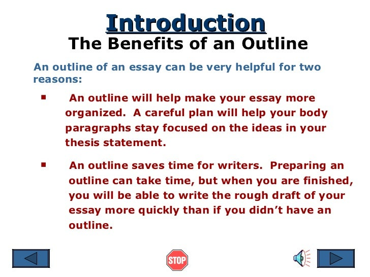 writing an outline for an essay An outline can create a step-by-step guide that makes the actual writing easier while saving you time once you finalize the outline, you can use it to write each paragraph of the paper you may even be able to use the sentences from the outline to fill in the opening for each paragraph and the supporting details.
