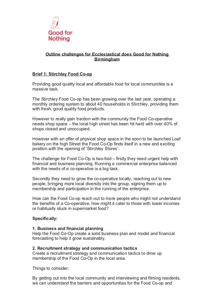 Outline challenges for Ecclesiastical does Good for Nothing                               BirminghamBrief 1: Stirchley Foo...