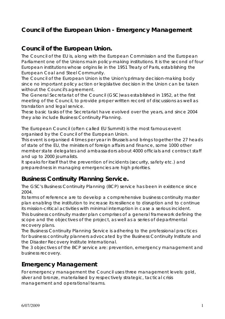 Council of the European Union - Emergency Management   Council of the European Union. The Council of the EU is, along with...