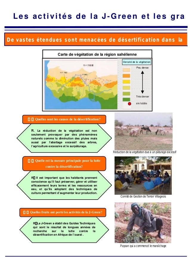 Les activités de la J-Green et les gra De vastes étendues sont menacées de désertification dans la Carte de végétation de ...