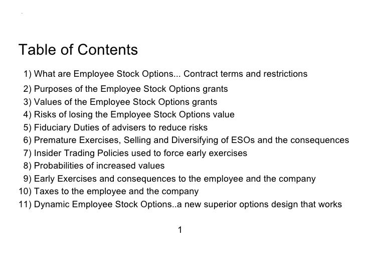 Tax consequences of employee stock options