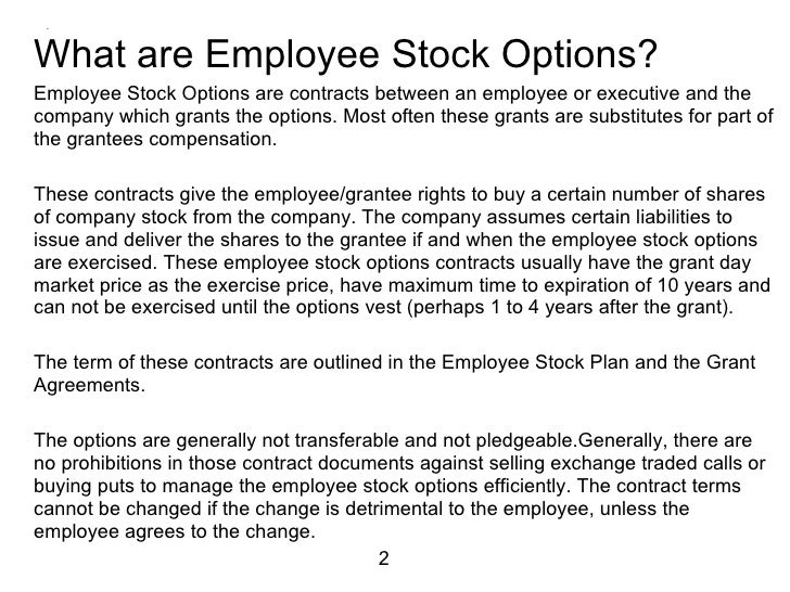 Employee stock options glossary