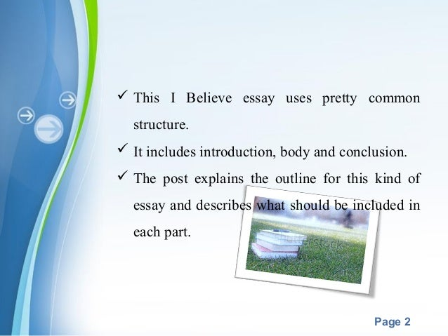 i believe in essay