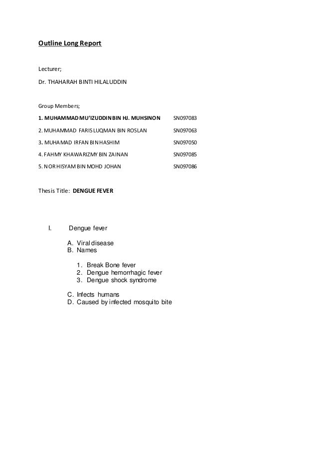 outline long report lecturer dr thaharah binti hilaluddin group members 1