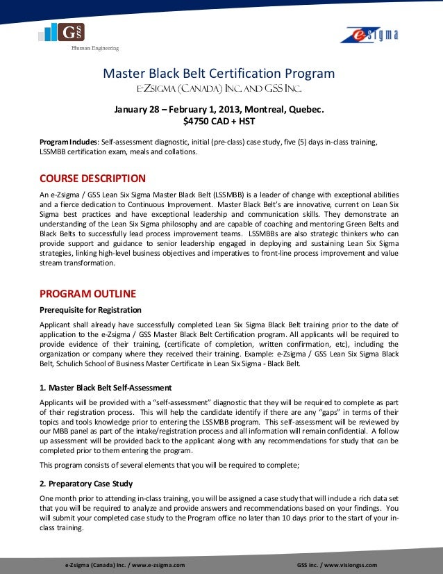 Outline Lean Six Sigma Master Black Belt Certification Program