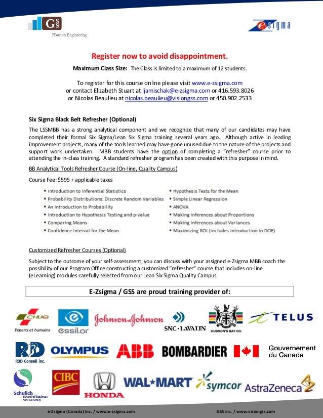 Outline Lean Six Sigma Master Black Belt Certification Program