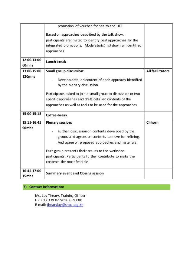 Outline Of Consultative Workshop On Integrated Promotion V 1 1 14 Oct