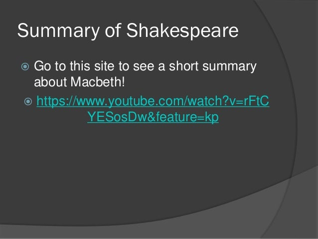 a summary of shakespeares macbeths