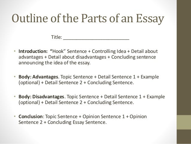 Parts of an essay outline