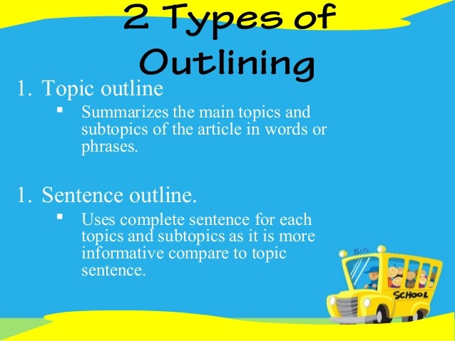 two types of topic sentence