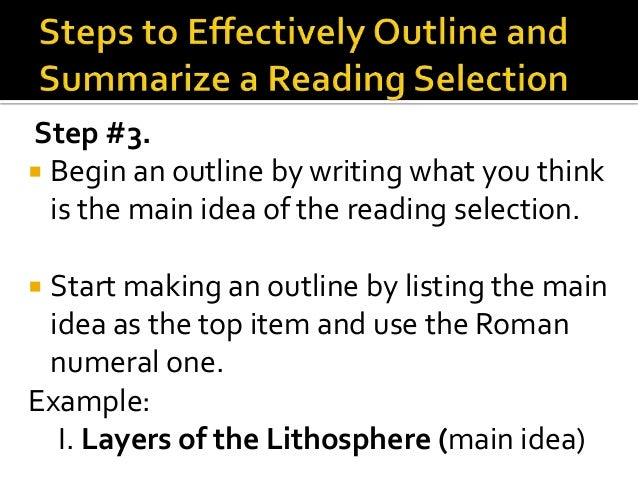 example of outlining and summarizing