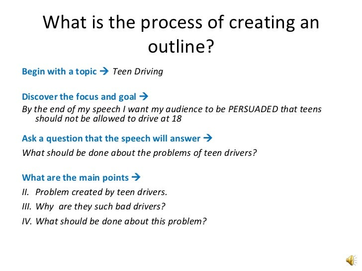 Outlining an oral presentation