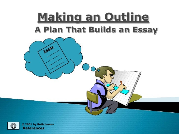 making an outline a plan that builds an essay Prewriting and outlining this is another way to record your thoughts and observations for a paragraph or essay an outline is a plan for the paper.