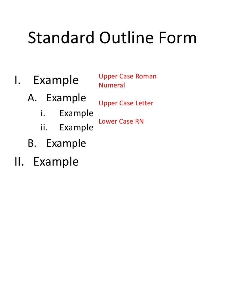 Standard essay outline