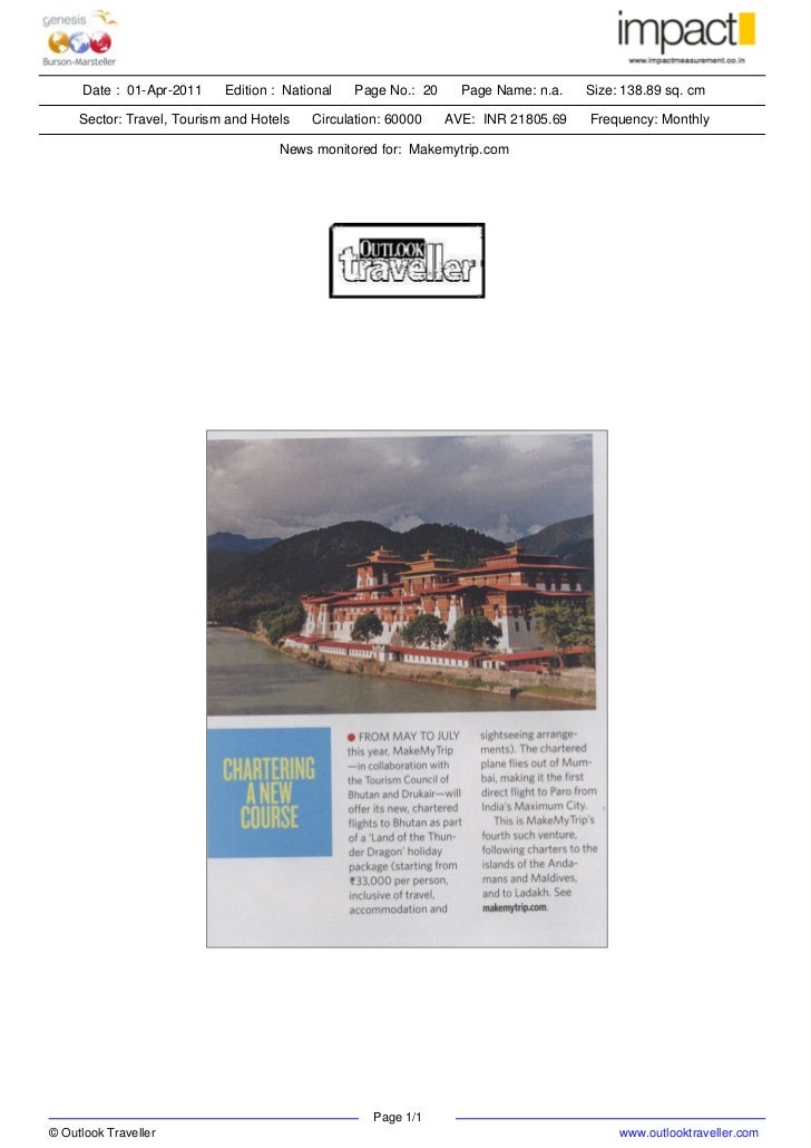 Date : 01-Apr-2011    Edition : National   Page No.: 20     Page Name: n.a.   Size: 138.89 sq. cm     Sector: Travel, Tour...